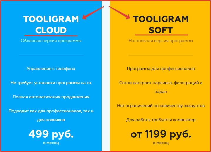 Стоимость платный пакетов программы Tooligram